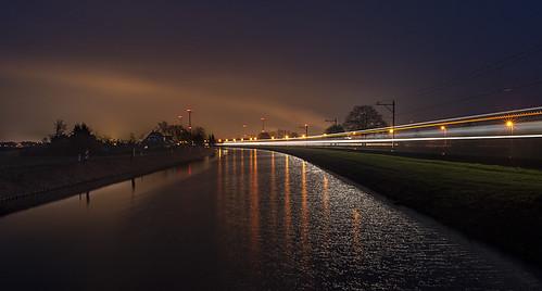 Train light trail