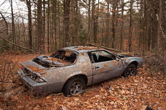 Bullet riddled Camaro in the woods (DjD-567) Tags: chevrolet abandoned car woods gm rusty nh camaro destroyed bulletholes candia delapidated