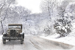 Winter Collaboration (david.horst.7) Tags: auto winter snow ford composite vintage automobile scenery antique collaboration