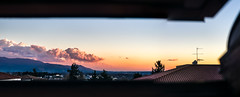 Sunset from the window (j0sh (www.pixael.com)) Tags: roof sunset sky italy panorama rome roma window beautiful clouds landscape photography 50mm photo europe italia view sony palestrina canonfd50mm14 sonya7