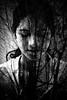 Whispering Tears (asphot) Tags: portrait blackandwhite bw woman white black tree girl forest canon eos 350d exposure tears doubleexposure venezuela double bnw