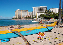 Private Property (jcc55883) Tags: ocean hawaii fuji oahu pacificocean waikikibeach fujifinepix outriggercanoe kuhiobeachpark waikikishoreline finepixax660