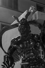 "Dharma Protector ""Ha"" close up - Night Shot (Manoj Vimalassery) Tags: nightphotography blackandwhite bw 50mm blackwhite singapore nightshot ha schwarzweiss nachtaufnahme schwarzundweiss dharmaprotector  foohaichanmonastery nachtfotografien"