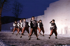 Dancing girls (threepinner) Tags: festival japan night canon 50mm hokkaido ar iso400 negative f18 hokkaidou selfdeveloped iwamizawa northernjapan nfd   alkalinepushing dokayukimatsuri