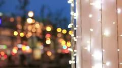 Neon lights on the street. (greycoastmedia) Tags: christmas street xmas people holiday motion lights video europe neon mood decoration newyear garland hurry footage haste stockvideo greycoastmedia