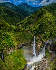 3 waterfalls Banos, Ecuador (Ron Harbin Photography) Tags: mountains green rock volcano ecuador rainbow waterfalls baths land volcanoes lush banos thermal formations tungurahua