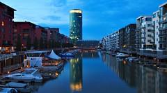 Westhafen so blue... (Dan_Khan) Tags: canoneos5dmkii canonef2485mmf3545usm westhafen longexposure lights nightlights night frankfurt architecture bluehour blue