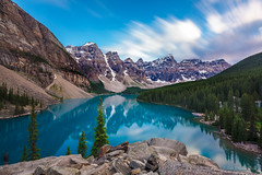stand and stare (john dusseault) Tags: morainelake rockies canada banffnationalpark water lake mountains valleyoftenpeaks trees alberta brilliant