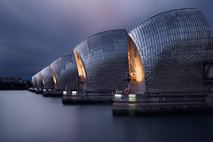 The Weight of the World (Otto Berkeley) Tags: london england uk britain thames woolwich greenwich thamesbarrier flood barrier storm surge tide rainfall defense longexposure technology structure engineering peaceful calm serene steel gates dusk evening dark blue chilly cold