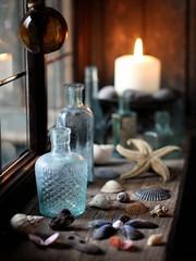 Beach Hut Dreaming (memoryweaver) Tags: beach window seashells wooden candle bottles starfish hut beachhut windowsill windowlight beachcombing littlewoodenhouse antiqueglassbottles memoryweaver