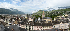 Sion, Switzerland (nicnac1000) Tags: panorama city swiss schweiz switzerland sion snow cloud mountain mist cloudy misty cathedral