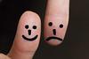 "HMM !!  ""laugh + sad"" (Rainer D) Tags: macromondays 2016 macromonday opposites thumbs thumbsup thumbsdown right left black blackbackground face laughingface sadface canon6def100mmf28lmacroisusm ef100mmf28lmacroisusm macro"