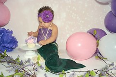 Alyssa (Ruby Wayne) Tags: aly alyssa mermaid cake cakesmash girl indoor pink purple