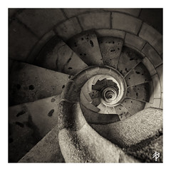 Spirals (fearghal breathnach) Tags: sagradafamlia stairs spiral spiralstairs squareformat square nik monochrome blackwhite abstract symmetry geometry shape pattern barcelona