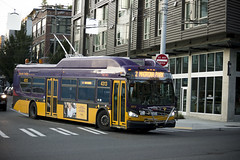 New trolley on KCM route 2 (Shane in the City) Tags: seattle city urban transportation transit bus capitolhill electricity