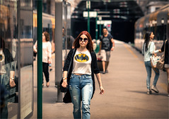 Walking like an Bat girl :) (zilverbat.) Tags: streetphotography image streetcandid candid streetshot streetscene straatfotograaf straatportret straatfotografie streetlife urbanlife station girl urban bokeh dof batgirl zilverbat portugal porto comic train trainstation jeans streetwise urbanvibes