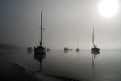 Ghost boats (Fife Walking (Susan B)) Tags: balmaha lochlomond scotland autumn mist boat loch