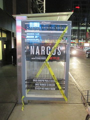 Narcos Bus Shelter Pile O Money AD - UPDATE They stole the fake money 5527 (Brechtbug) Tags: narcos bus shelter pile o money ad tv show stop with piles slightly singed real fake or is it 2016 nyc image taken 09172016 midtown manhattan new york city 49th street 7th ave st avenue moola bogus update they stole