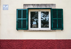 Window reflections. (CWhatPhotos) Tags: cwhatphotos window reflection reflections green camera photographs photograph pics pictures pic picture image images foto fotos photography artistic that have which contain with olympus four thirds 43 spanish spain mallorca majorca island october 2016 weather alcudia wall abstract windows square color colors colour colours view lines straight line vertical horizontal shutter shutters building buildings architecture colorful colourful shapes