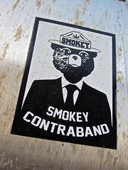 Smokey Contraband, New York, NY (Robby Virus) Tags: newyorkcity newyork ny nyc city manhattan bigapple smokey bear contraband sticker slap weed hemp marijuana leaf