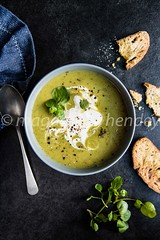 pea and watercress soup with sour cream (magshendey) Tags: foodphoto foodstyling soup pea watercress homecooking healthy