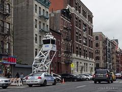 NYPD Eyes in the Sky - Pitt (Joel Raskin) Tags: nypd surveillancetower tower police nyc lowereastside pittstreet manhattan tenements street streetscene urban lumixgx8 gx8 city citylife