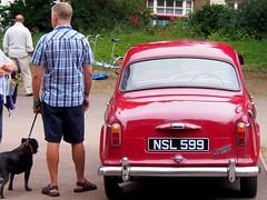 Wolseley 1500 1961 (badhands13) Tags: wolseley 1500 red 1961 british car man dog