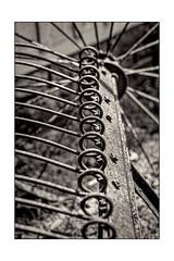 Hay Rake (Terry L. Olsen) Tags: blackandwhite detail hayrake farmimplement shilohmuseum topazsoftware