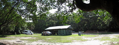 Campsite at Camp Treachery NSW (spelio) Tags: treachery camp nsw campsite panorama campshed kitchen shed sealrocks yagon sprintervan angela