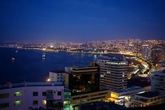 Valperiso (benjaminaunger) Tags: night sky sunset landscape city street lights stars moon pacific ocean