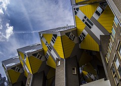 Rotterdam Cube Houses (Adri Pez) Tags: rotterdam cube houses casas cubo buildings edificios arquitectura architecture futurist futurista sky cielo nubes clouds yellow blue azul amarillo south holland zuidholland holanda paises bajos nederland the netherlands europe europa nikon d3100