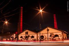 (Georgina ♡) Tags: longexposure red building cars nightshot traffic streetlamps smokestacks streaks chimneys