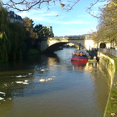 Looking up the River Avon (southglosguytwo) Tags: bridge trees sky water buildings boat bath cameraphoneshot riveravon 2014
