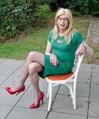 An attempt to sit pretty. (sabine57) Tags: stockings drag tv pumps highheels dress cd crossdressing tgirl transgender tranny transvestite crossdresser crossdress nylons greendress travestie transvestism redpumps