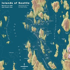 """Courtesy of Jeff Lin and Spacialities.com,: """"Islands of Seattle"""" (JoeInSouthernCA) Tags: seattle map politics futurism geography washingtonstate climatechange globalwarming cascadia dystopia"""