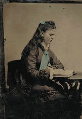 Young woman reading (sctatepdx) Tags: tintype girlreading handtintedtintype