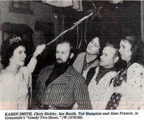 1985 Goody Two Shoes 06 (from left Karen Smith, Chris Birkby, Ian Booth, Ted Hampton, June Francis)