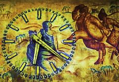 Bruges Wall Mural Clock 5463 (nikonmike99) Tags: clock mural antique painted brugge trainstation bruges brass 2014