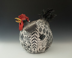 Terri Axness (Ceramic Showcase) Tags: ceramics clay pottery opa handbuilt claychicken ceramicshowcase oregonpotters blackandredchicken
