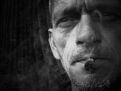2843 Smoke Gets In My Eyes (Nebojsa Mladjenovic) Tags: portrait blackandwhite bw monochrome is amazing smoke smoking panasonic his selfie mladjenovic