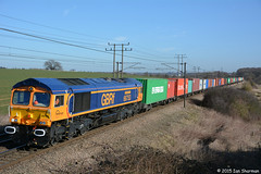 No 66753 EMD Roberts Road 18th Feb 2015 Belstead (Ian Sharman 1963) Tags: road train no great north shed engine bank railway loco trains 18th 66 class crewe british locomotive roberts feb eastern railways felixstowe mainline 2015 emd geml railfreight belstead gbrf 66753 4m23
