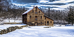 Pine Creek Grist  Mill (jackalope22) Tags: sky mill ice pine clouds creek rustic grist wintry muscatine