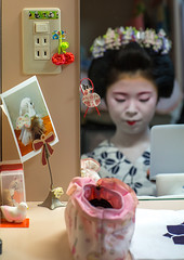 16 Years old maiko called chikasaya during a make up session, Kansai region, Kyoto, Japan (Eric Lafforgue) Tags: people woman white reflection beautiful beauty face japan vertical female hair asian japanese mirror clothing eyes kyoto colorful asia pretty feminine painted young culture makeup grace indoors teen maiko geisha teenager kimono gion tradition oriental youngadult solitary hairstyle youngwoman apprentice sparse oneperson hairbun elaborate kanzashi 1617years oneyoungwomanonly 1people kansairegion japaneseethnicity colourpicture chikasaya japan161922 komayaokiya