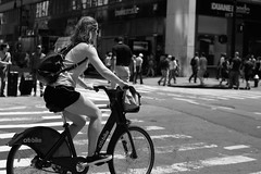 A sweet Rider (kogh65) Tags: new york photography photo travel art 2016 nyc ny street black white leica m mono tone city outdoor life people depth field reportage young kogh candid camera focus pov picture 50mm image manhattan artist kogh65 bicycle girl bw
