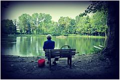 Castellazzo. (rogilde - roberto la forgia) Tags: solitudine relax loneliness out fish fisherman lake dream sogno poetry lago bench panchina