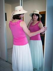 Pink & white (blackietv) Tags: casual pink white long skirt longskirt hat tgirl transvestite crossdresser crossdressing transgender mirror