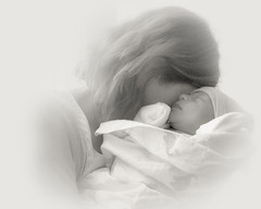 New Grandmother (magnetic_red) Tags: baby newborn grandmother child love peace emotion highkey soft hope blackandwhite portrait