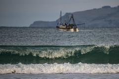 The old fishing boat (Ian@NZFlickr) Tags: boat fishing wave nz otago dunedin waikouaiti