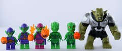 Green Goblin team (complete) (Alex THELEGOFAN) Tags: the ultimate spider man studios lego marvel villain mighty micros junior super heroes green goblin 76064 10687 76057 1374 4852 4851 76016 decorated headgear legography