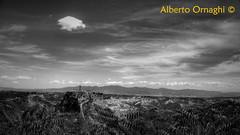 Sky on Civita. (Alberto04) Tags: city sky blackandwhite italy europa europe flickr italia foto bn cielo biancoenero lazio citta civitadibagnoregio olympussp590uz
